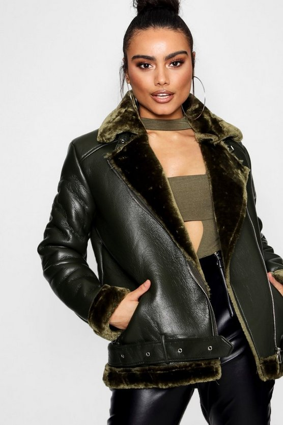 Faux Leather Aviator