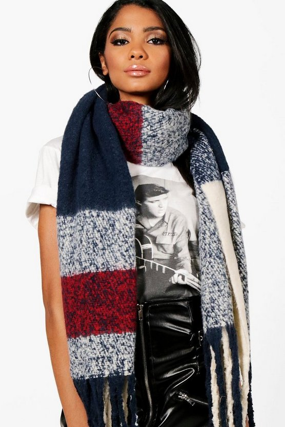 Kerry Block Stripe Oversized Scarf