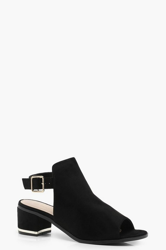 Peeptoe Low Heel Shoe Boots