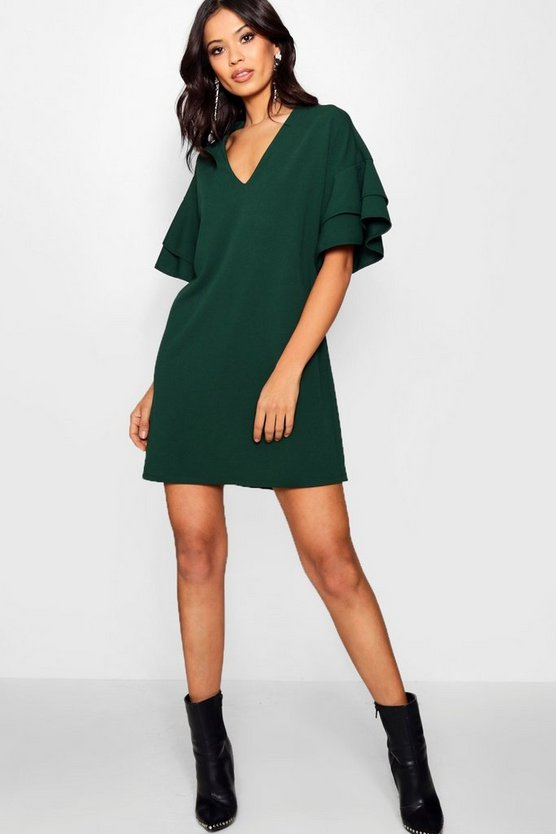 Woven Ruffle Sleeve Shift Dress