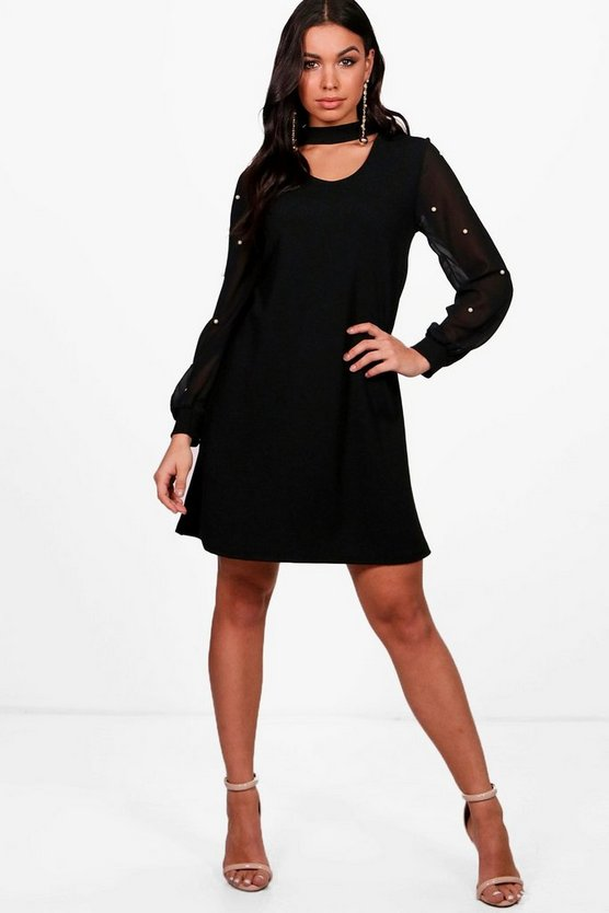 Pearl Mesh Sleeve Choker Dress
