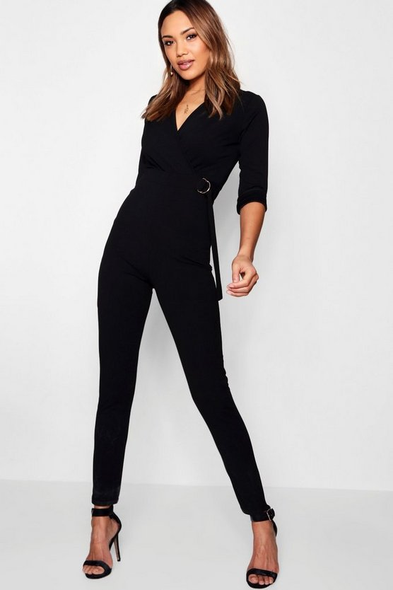 Womens Black Wrap D-Ring Jumpsuit