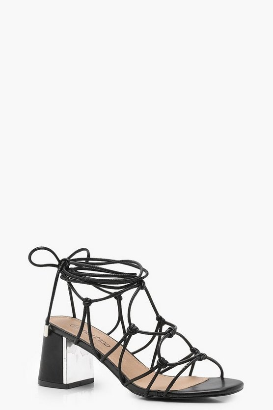 Black Extra Wide Fit Cage Tie Up Gladiator Sandals