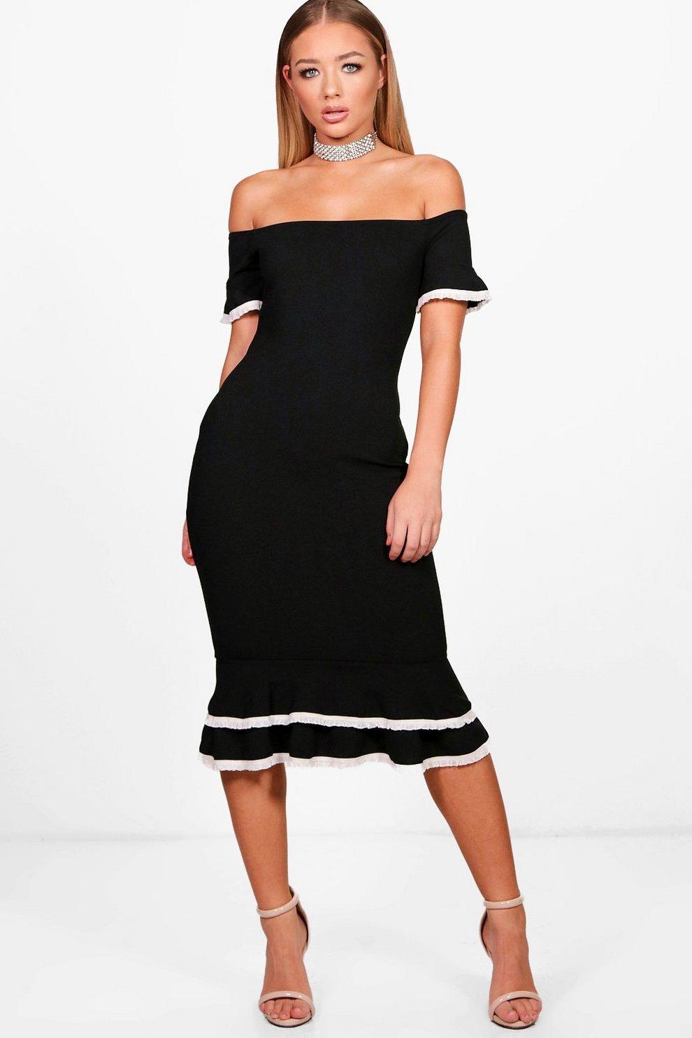 ff29311cf3 Womens Black Bardot Frill Lace Trim Midi Dress. Hover to zoom