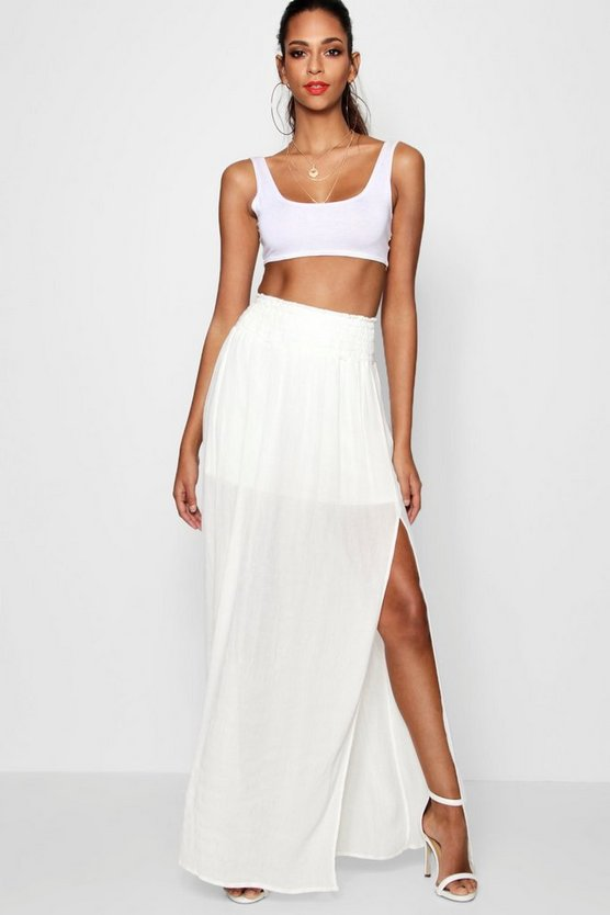 Woven Shirred Waist Side Split Maxi