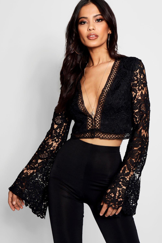 Women's 70s Shirts, Blouses, Hippie Tops Womens Flare Sleeve Plunge Lace Crochet Crop - black - 12 $40.00 AT vintagedancer.com