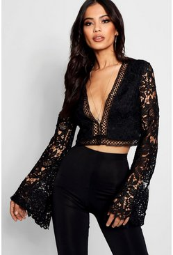 Womens Black Flare Sleeve Plunge Lace Crochet Crop