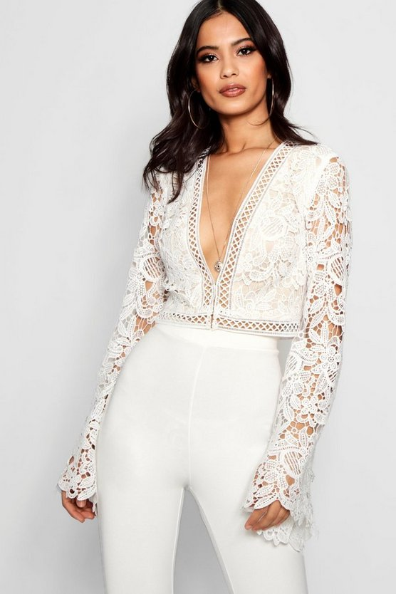 Womens White Flare Sleeve Plunge Lace Crochet Crop