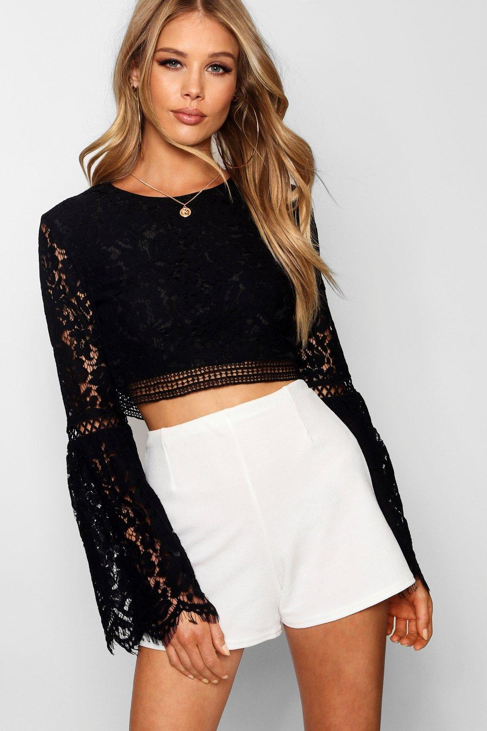 Lace Crochet Trim Flare Sleeve Crop Top Boohoo