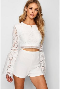 Womens White Lace Crochet Trim Flare Sleeve Crop Top