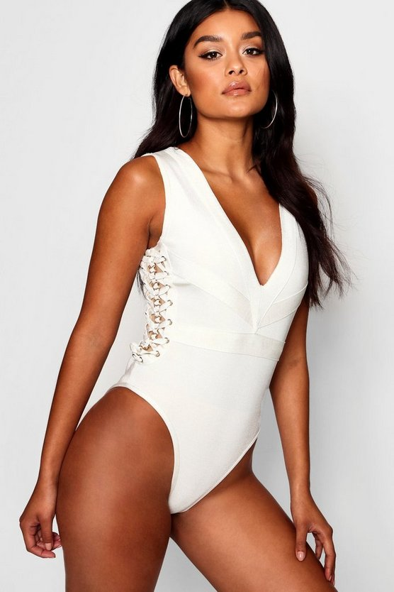 Boutique Bandage Chain Detail Plunge Bodysuit