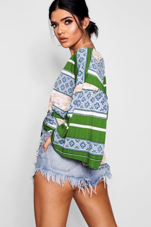 los verde manga bordes en estampado con Top Kimono cruzado con TEnpwqx01z