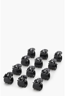 Womens Black Mini Hair Clips