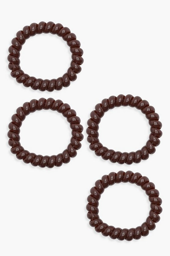 Womens Brown Coil Elastic 4 Pack Hair Bands
