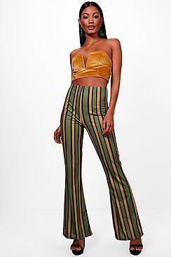 1960s – 70s Pants, Jeans, Bell Bottoms, Jumpsuits Taylor Bold Contrast Stripe Skinny Flare $25.00 AT vintagedancer.com