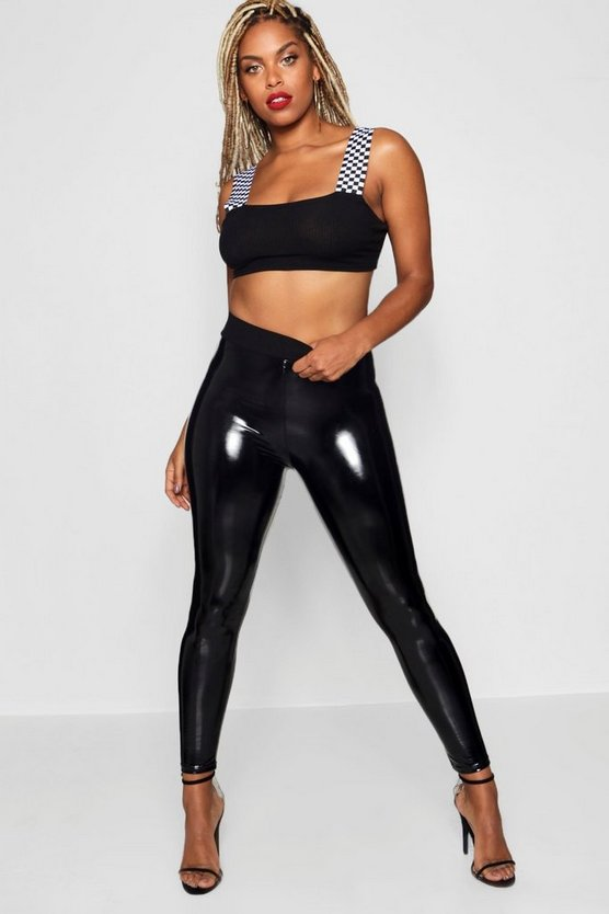 High Shine aus Vinyl-Leggings, Schwarz, Damen