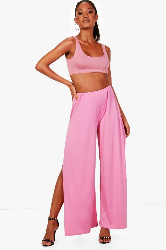 Side Split Crepe Wide Leg Trousers