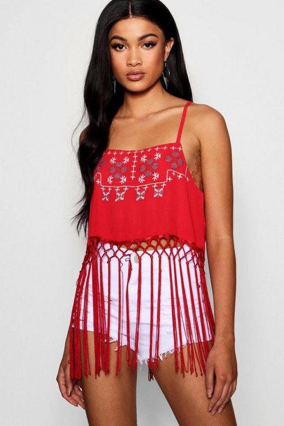 Embroidered Woven Tassel Cami
