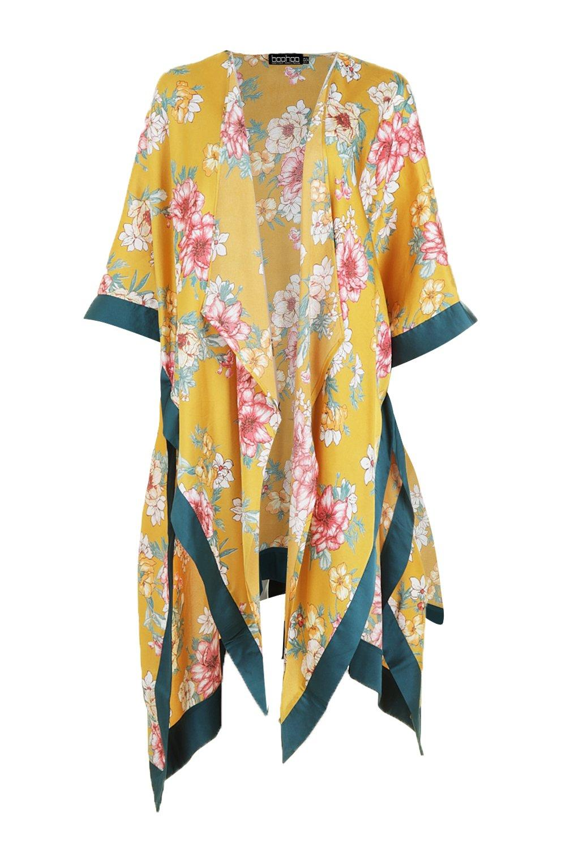 estampado amarillo Kimono con Floral en contraste Woven Pnpw58zwq