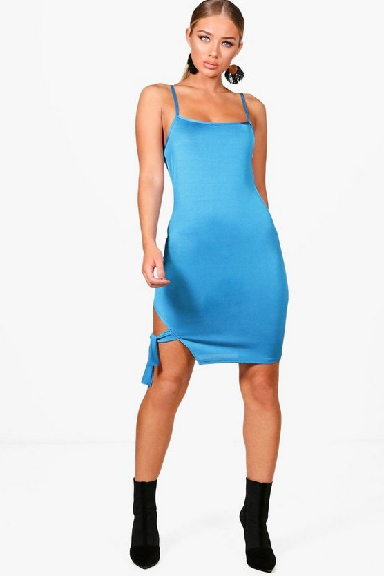 Square Neck Tie Side Bodycon Dress