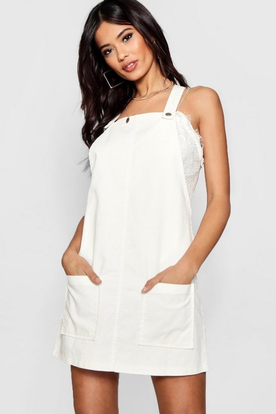 Womens White Pocket Front Cord Pinafore Dress