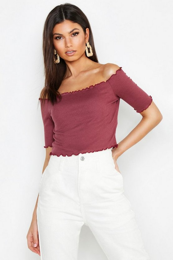 Basic Lettuce Hem Rib Short Sleeve Crop Top