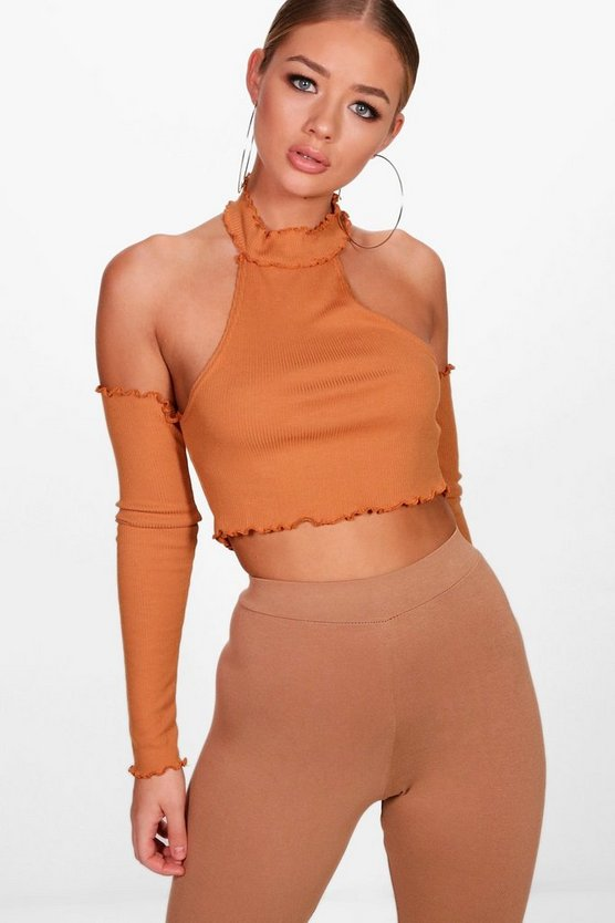 Lettuce Hem Cold Shoulder Crop