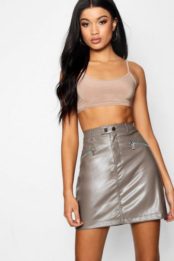 Zip Detail Leather Look Mini Skirt