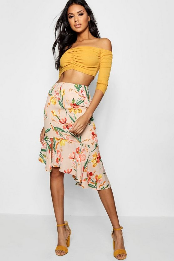 Woven Floral Asymetric Ruffle Midi Skirt