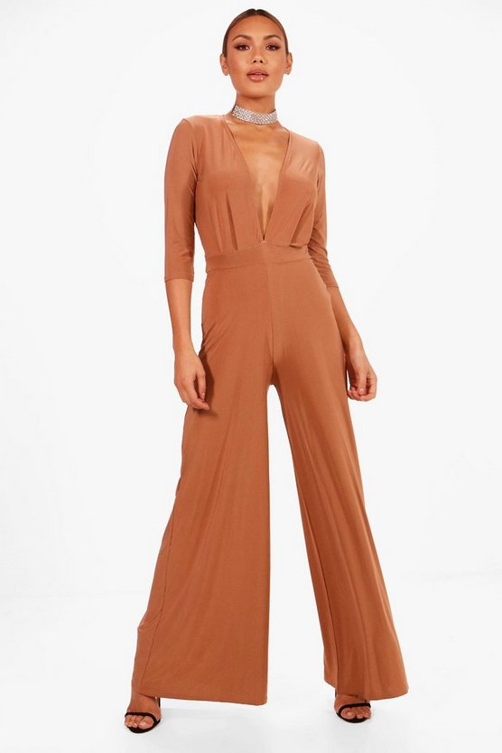 Plunge Wide Leg Jumpsuit