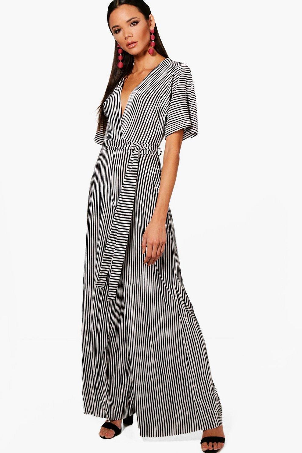 1bc52b3cd1 Plunge Plisse Stripe Culotte Jumpsuit
