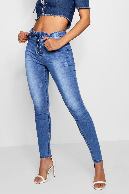 boohoo womens rory corset laceup high waist skinny jeans