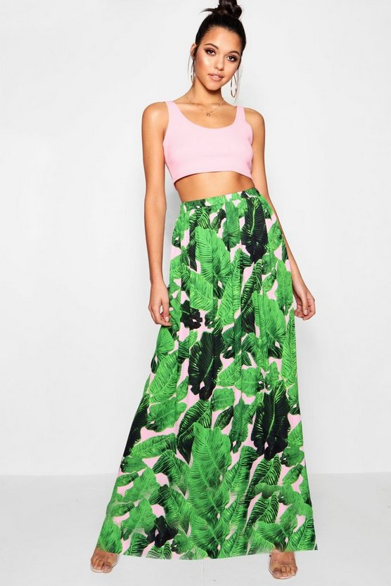 Woven Floor Sweeping Palm Print Maxi