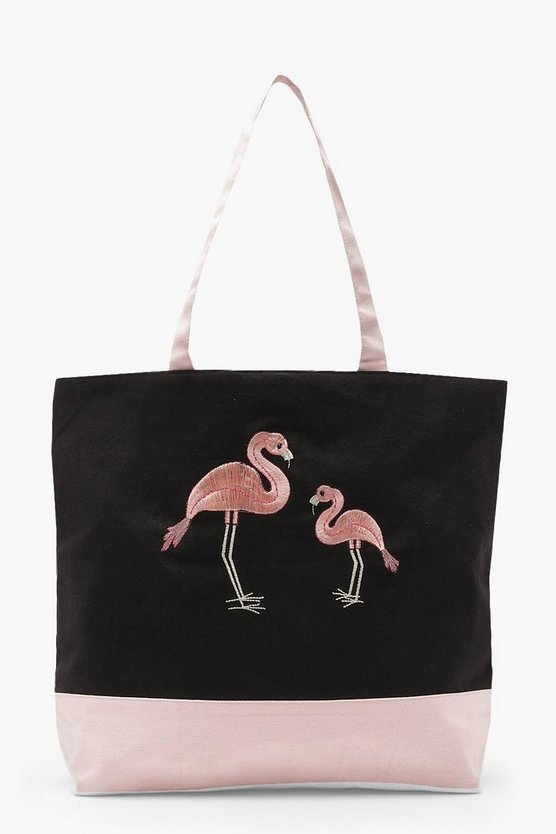Embroidery Flamingo Beach Bag