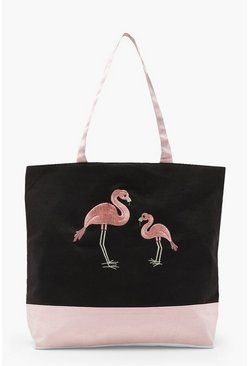 Womens Black Embroidery Flamingo Beach Bag