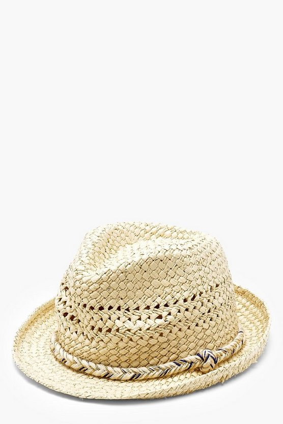 Metallic Rope Detail Straw Trilby