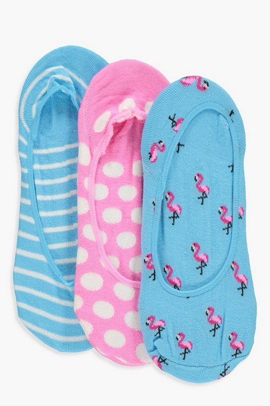 Katy Flamingo 3pk Invisible Socks