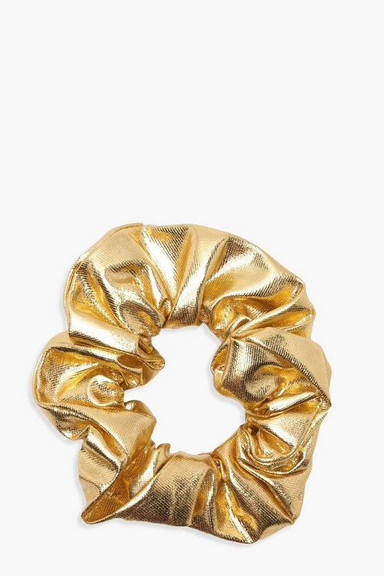 Womens Champagne Mia Metallic Scrunchie