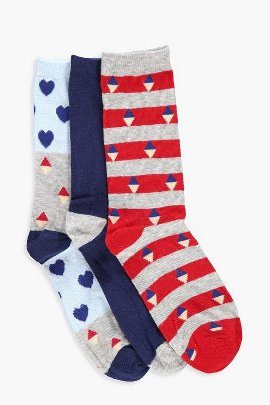 Erin Heart And Stripe 3 Pack Ankle Socks