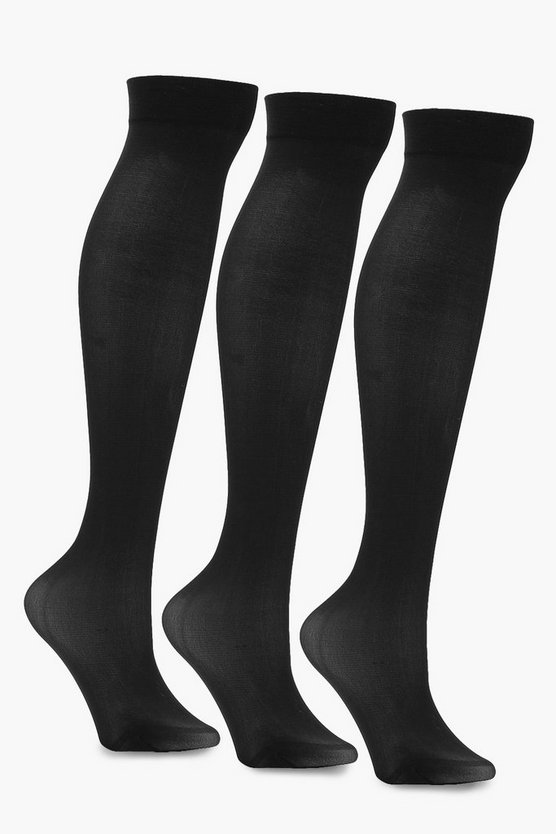Ivy 3 Pack Denier Knee High Socks