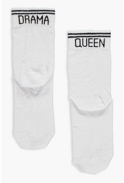Womens White Drama Queen Slogan Sports Stripe Socks