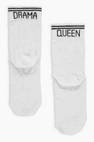 White Drama Queen Slogan Sports Stripe Socks