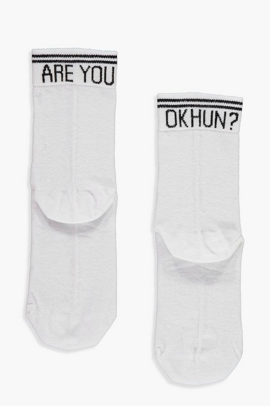 Womens White Are You Ok Hun? Slogan Ankle Socks