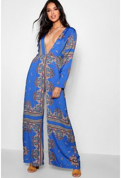 Womens Scarf Print Wide Leg Jumpsuit