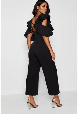 Womens Black Statement Ruffle Cross Back Jumpsuit