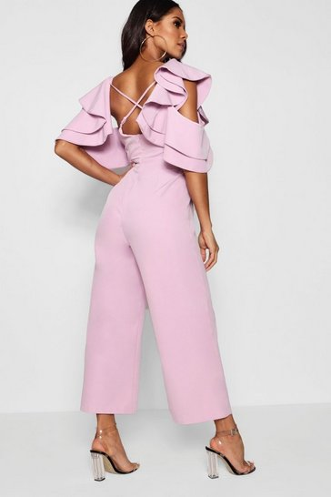 Womens Lilac Statement Ruffle Cross Back Jumpsuit