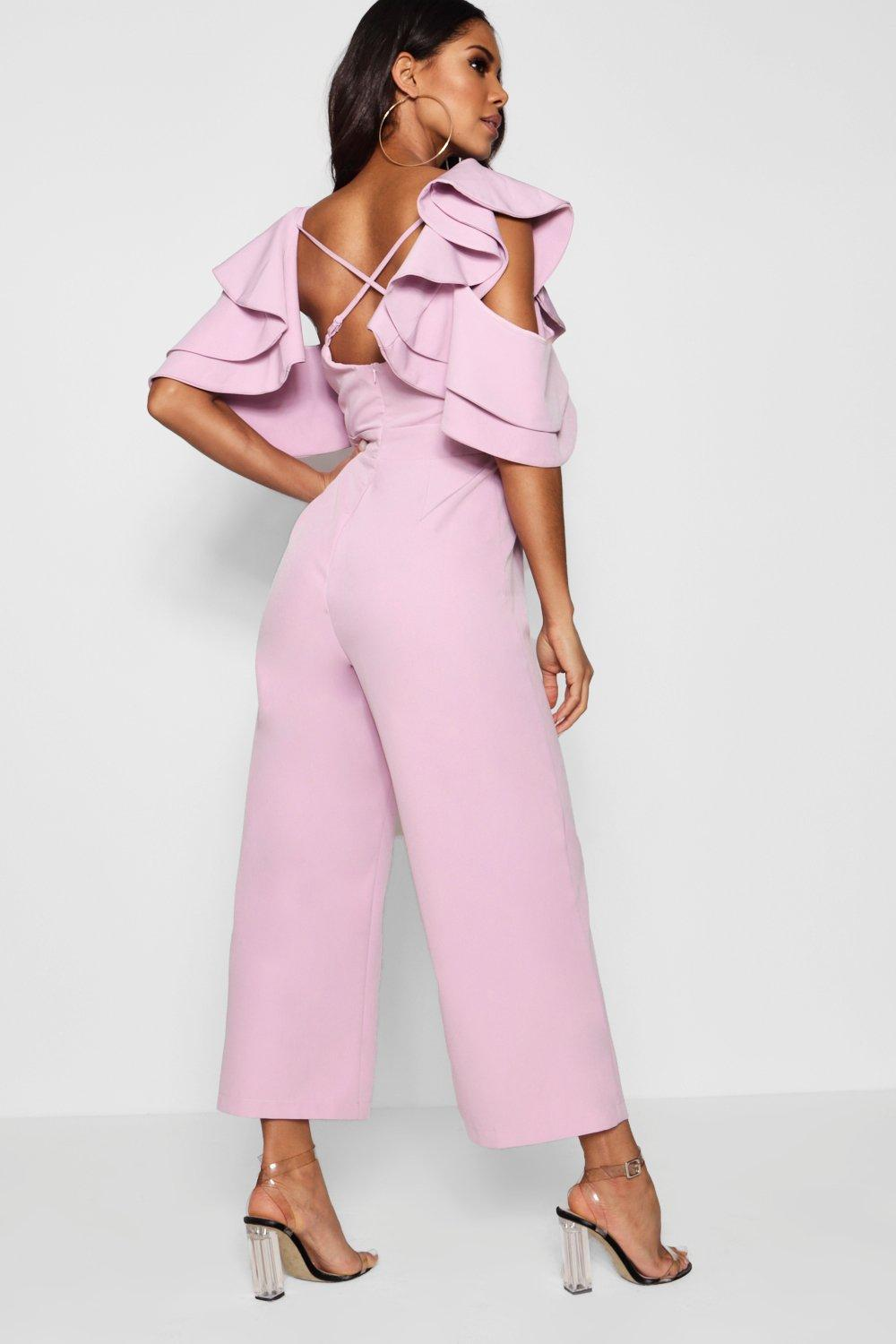 4a0ec765c42 Statement Ruffle Cross Back Jumpsuit. Hover to zoom