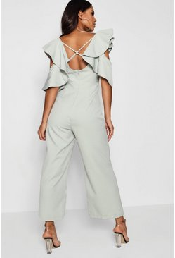 Womens Mint Statement Ruffle Cross Back Jumpsuit