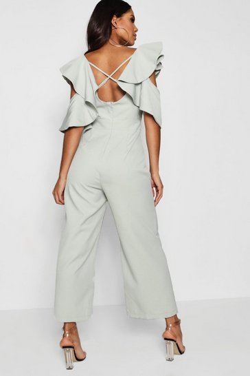 Mint Statement Ruffle Cross Back Jumpsuit