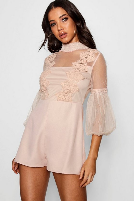 Womens Nude Boutique Embroidered Romper